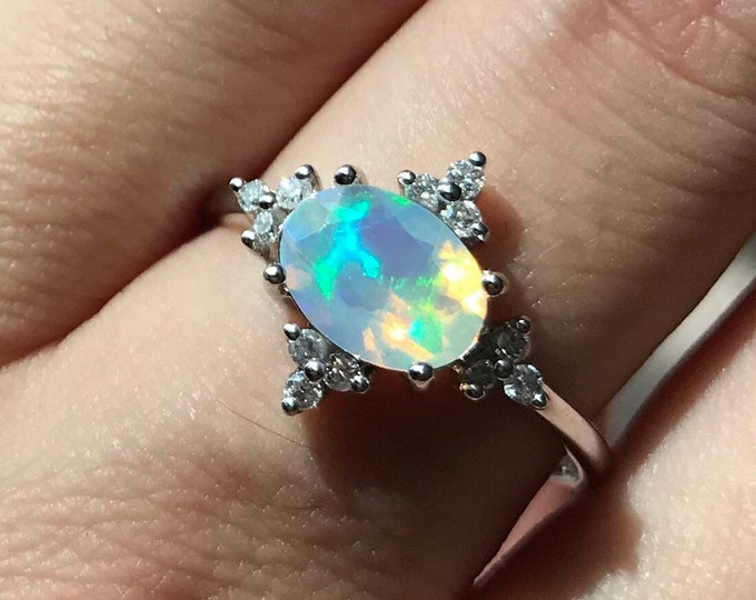 Oval Opal Diamond Engagement Ring- Natural Genuine Opal Promise Celestial Ring- Fire Opal Halo Anniversary Ring- 14k 18k Gold Opal Ring