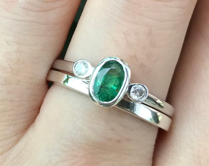 Natural Emerald Oval Engagement Women 2 Ring Set- Deco Genuine Emerald Diamond Bridal Ring Set- Three Stone Bezel Emerald Promise 2 Ring Set