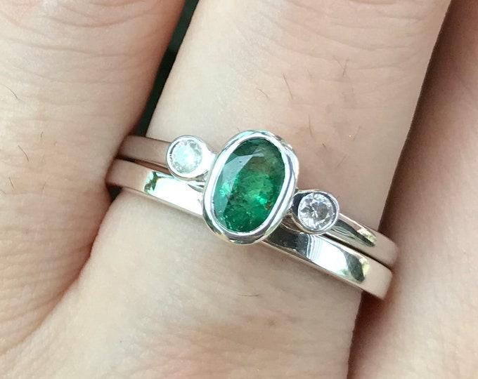 Natural Emerald Oval Engagement Women 2 Ring Set- Deco Genuine Emerald Diamond Bridal Ring Set- Three Stone Bezel Emerald Promise 2 Ring Set
