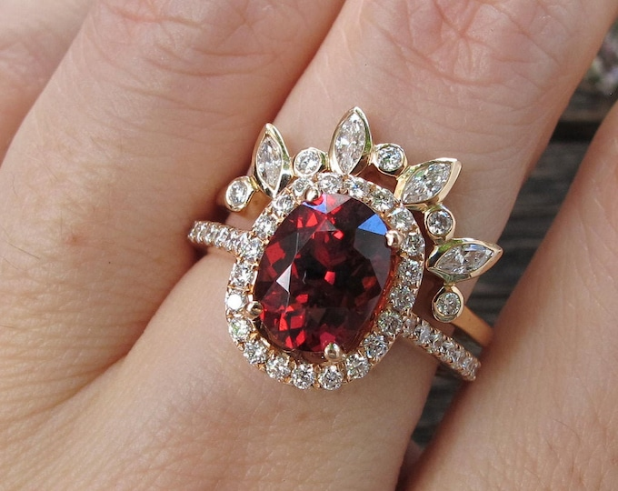 Oval Garnet Halo Bridal 2 Ring Set- Rose Gold Garnet Diamond Engagement Set of 2 Ring- Genuine Red Garnet Ring with Pairing Contour Band