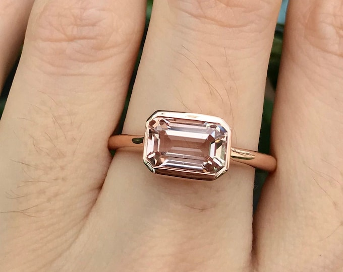 1.50ct Rectangle Natural Morganite Ring- Genuine Morganite Emerald Cut Engagement Ring-East West Morganite Solitaire Minimalist Ring for Her
