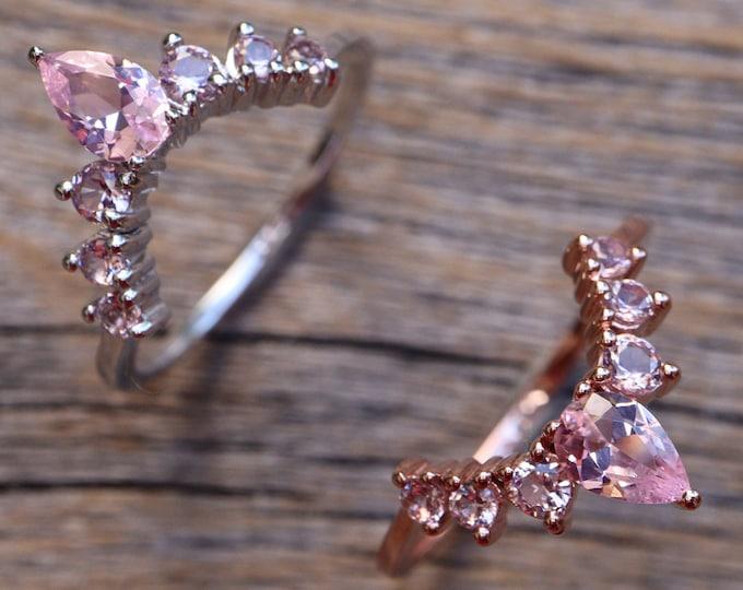 Pink Morganite Curve Wedding Band- Pink Stone Nesting Contour Band- Pink Layer Stack Chevron Band- Half Circle Bespoke Custom Band