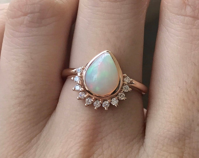 1CT Genuine Opal Pear Engagement Ring- Teardrop Opal Diamond Solitaire Ring-Natural Opal 18k Gold Ring- Rose Gold Promise Ring- October Ring