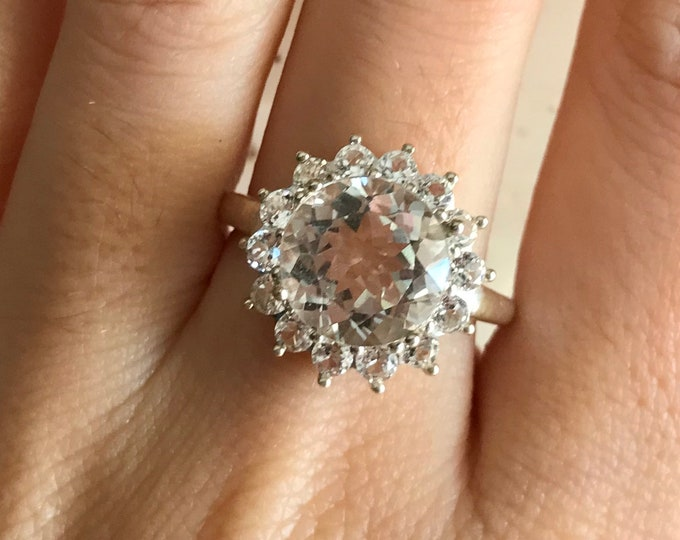 4ct Genuine White Topaz Round Engagement Ring- Halo Colorless Large Engagement Ring- Alternative Diamond Engagement Ring- Non Diamond Ring
