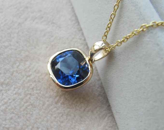 Blue Sapphire Square 14k Gold Necklace- Cushion Sapphire Simple Necklace-Lab Dark Blue Sapphire Bezel Necklace September Birthstone Necklace
