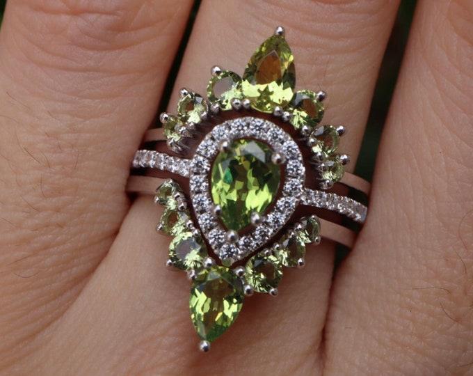 Teardrop Peridot Bridal 3 Ring Set- Pear Green Stone Wedding Ring Set- Green Halo Bridal Ring w/ 2 Wedding Band- August Birthstone Ring