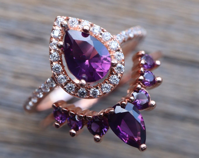 Teardrop Purple Amethyst Bridal Ring Set- Pear Amethyst Wedding 2 Ring Set- Halo Bridal Ring with Curved Wedding Band- Color Engagement Ring