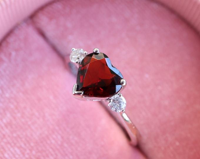 Heart Genuine Garnet & Diamond Engagement 14k Ring- Heart Prong Promise Ring- Natural Red Garnet Anniversary Ring- Valentine Gifts For Wife