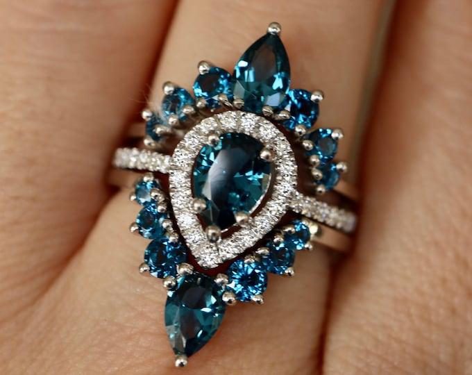 Teardrop London Blue Topaz Bridal 3 Ring Set-Pear Dark Blue Wedding Ring Set-Blue Halo Bridal Ring w/2 Wedding Band-December Birthstone Ring