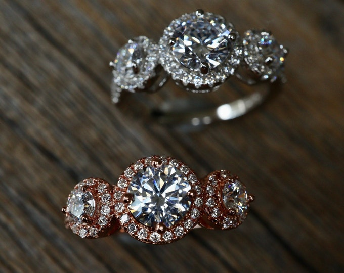 Colorless Three Stone Engagement Ring for Her- Round Diamond Simulant Wedding Ring - Diamond Alternative Bridal Ring- Ships Next Day