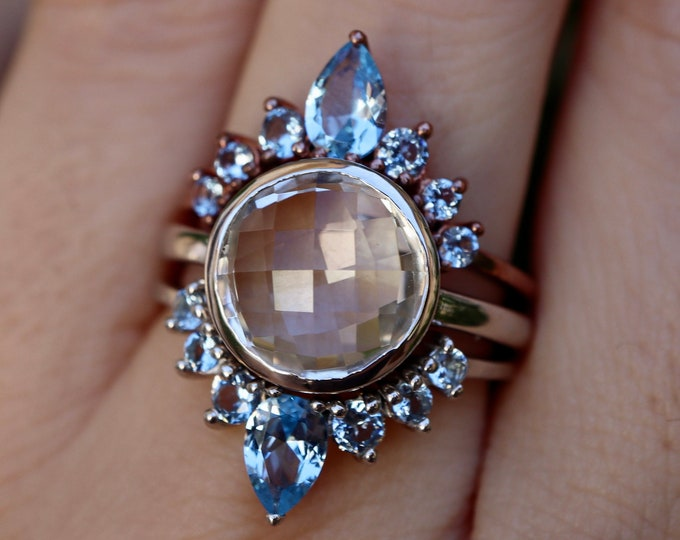 Round White Halo Bridal 3 Ring Set- Clear Quartz Engagement Ring w/ Blue Wedding Band- White and Blue Gemstone Ring with 2 Blue Contour Band