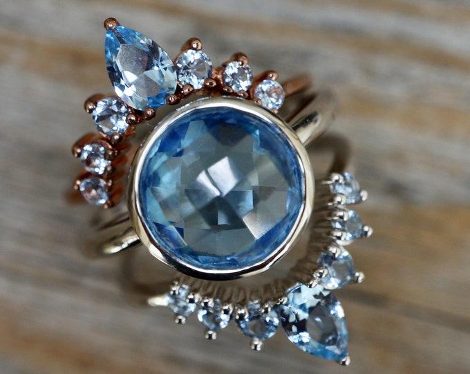Swiss Blue Quartz Round Bridal 3 Ring Set- Blue Halo Engagement Ring w/ Blue Wedding Band- Blue Gemstone Ring with 2 Blue Contour Band