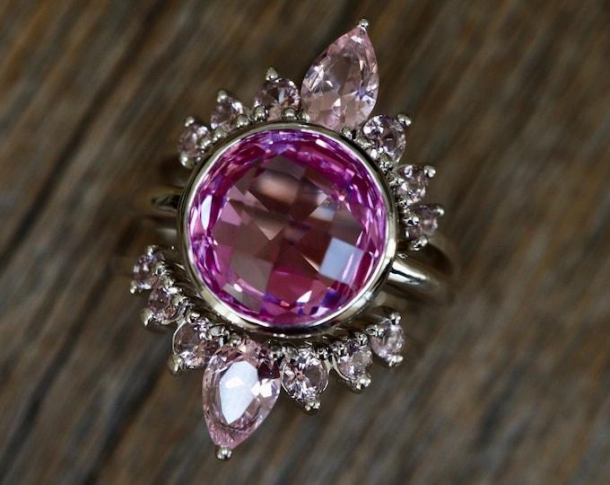 Round Pink Halo Bridal 3 Ring Set- Pink Quartz Engagement Ring w/ Pink Morganite Wedding Band- Pink Gemstone Bridal Trio Ring Set