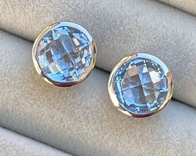 Round Light Blue Topaz Earring- Blue Quartz Earring- Classic Blue Stud Earring- Something Blue Earring- December Birthstone Silver Stud