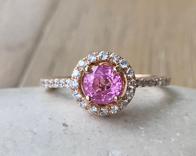 Certified Round 1.03ct Pink Sapphire Solid Gold Engagement Ring- Genuine Sapphire Halo Diamond Promise Ring- Natural Pink Sapphire Ring