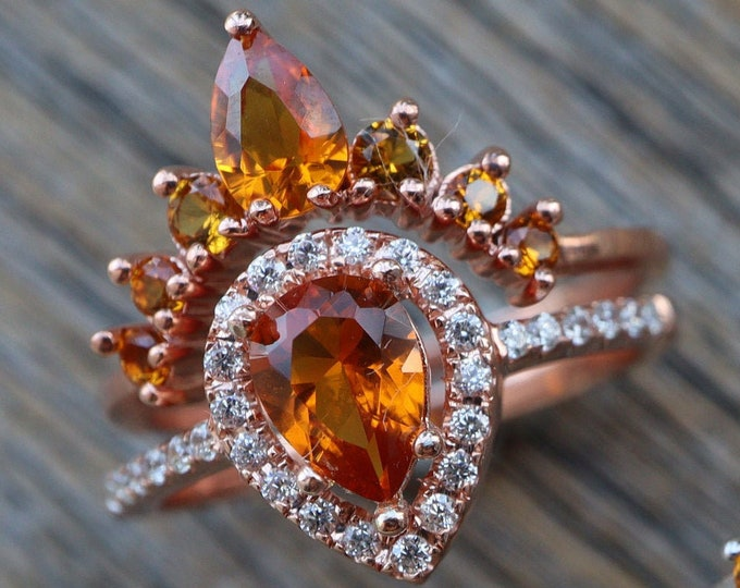 Teardrop Citrine Bridal Ring Set- Pear Yellow Stone Wedding 2 Ring Set- Orange Halo Bridal Ring w/ Curved Wedding Band