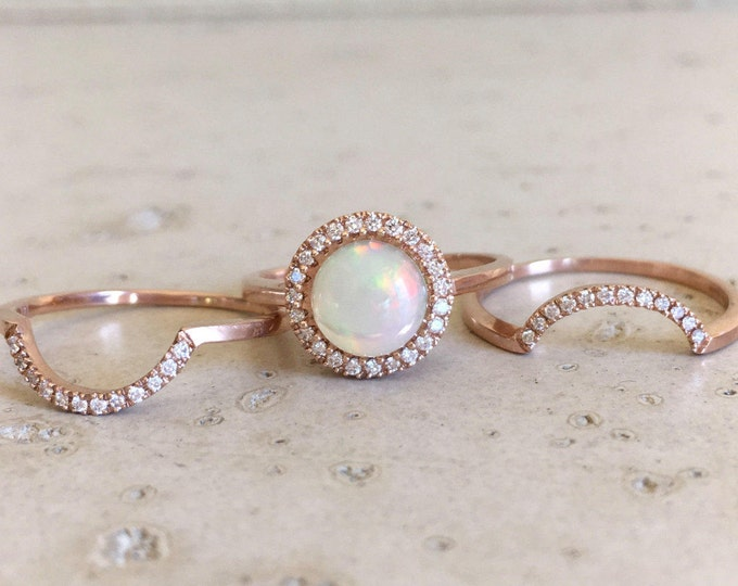 Round Halo Opal Engagement Ring- Rose Gold Opal Diamond Ring Set- Genuine Natural Opal Bridal 3 Ring Set- Fire Opal Halo Wedding Ring Set