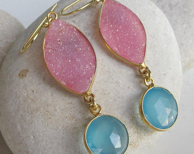 Festive Dangle Coloful Drop Long Earring Pink Druzy Handmade Gold Earring 2 Stone Blue Pink Boho Earring Bohemian Gypsy
