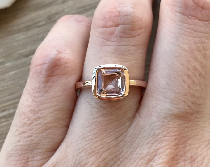 14k Rose Gold Morganite Ring- 1ct Cushion Morganite Promise Ring- Pink Gemstone Engagement Ring- Pink Stone Anniversary Ring