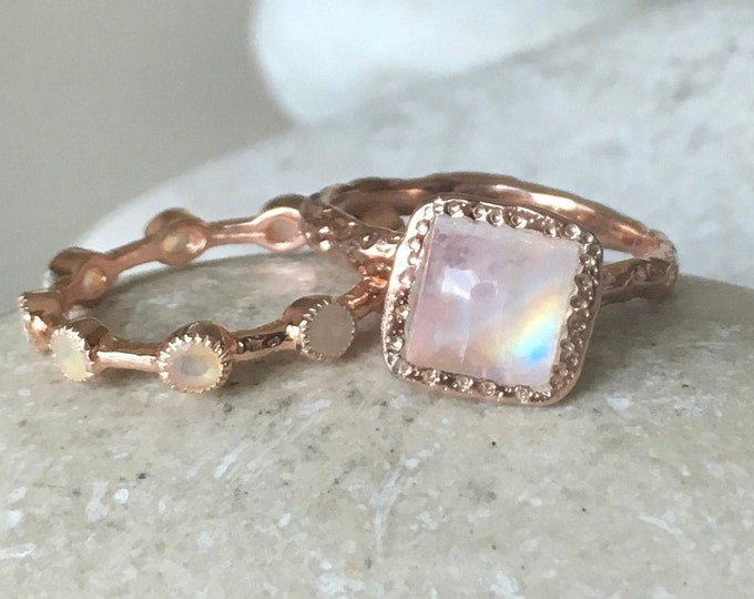 Rose Gold Moonstone Opal Bridal 2 Ring Set- Square Moonstone Engagement Ring w/Opal Band- Hammered Moonstone Opal Set of 2 Stack Rings