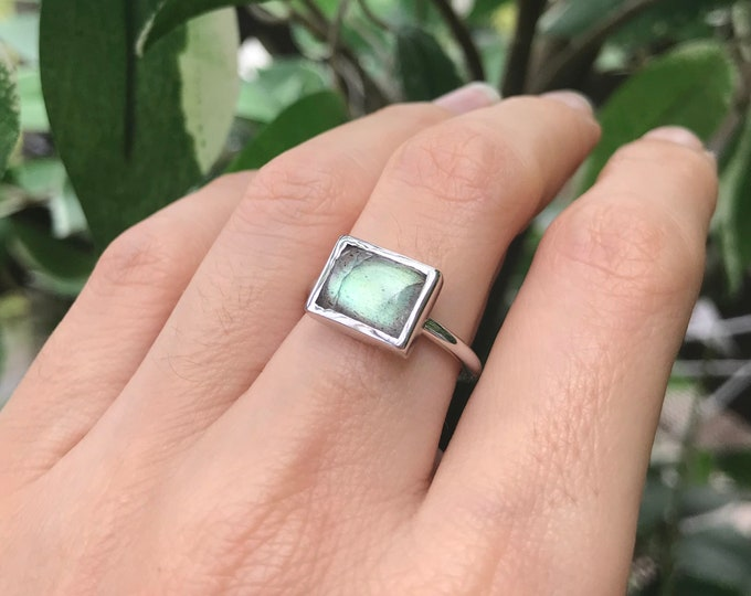 Rectangle Labradorite Boho Sterling Silver Vertical Horizontal Smooth Gemstone Bohemian Ring- Minimal Gypsy Simple Labradorite Jewelry
