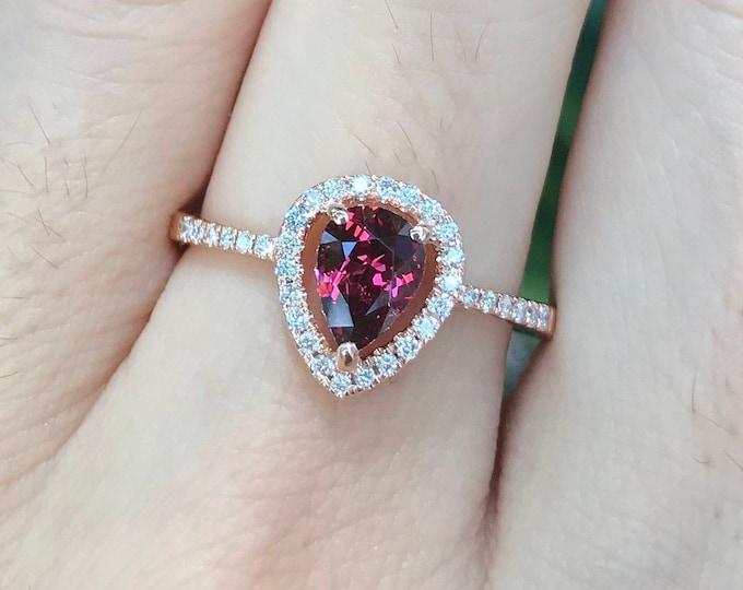 Teardrop 0.88ct Garnet Engagement Ring- Red Garnet Diamond Halo Ring- Genuine Garnet Promise Ring for Her- Natural Garnet Anniversary Ring