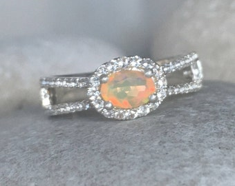 Opal Spilt Band Engagement Ring- Genuine Opal Promise Ring- Wedding Bridal Opal Ring- October Birthstone Ring- Sterling Silver Ring