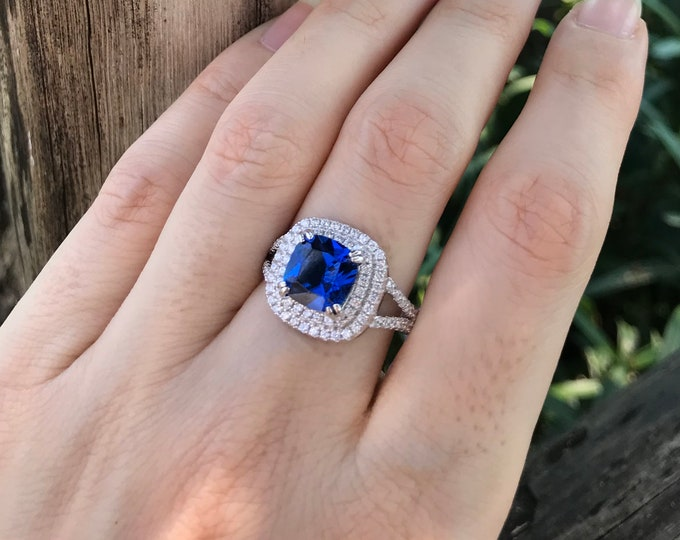 Cushion Blue Sapphire Women Engagement Ring- 2.70ct Blue Sapphire Square Halo Promise Ring for Her-Split Shank Solitaire Anniversary Ring