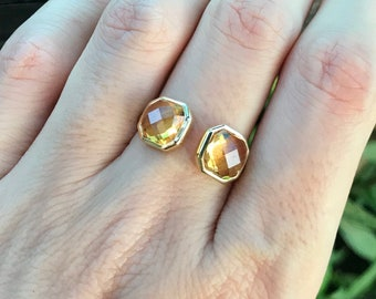14k Yellow Citrine Ring- Citrine Dual Two Stone Ring- Rose Cut Yellow Topaz Ring- November Birthstone Gold Ring- Asscher Cut Yellow Ring