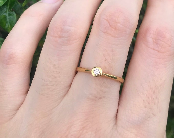 Tiny Champagne Diamond Promise Dainty Ring- Brown Diamond Stackable Ring- Small Diamond Simple Women Engagement Ring- April Birthstone Ring