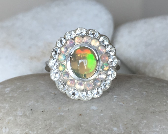 Opal Engagement Cluster Solitaire Ring- Opal Floral Multistone Promise Ring- Large Opal Statement Ring- Flower Halo Anniversary OOAK Ring