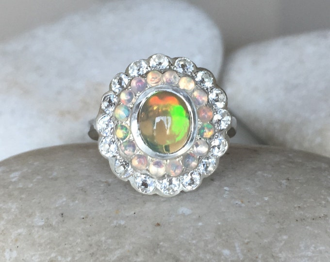 Opal Vintage Cluster Solitaire Halo Ring- Opal Floral Multistone Promise Ring- Large Opal Statement Ring- Flower Halo Anniversary OOAK Ring