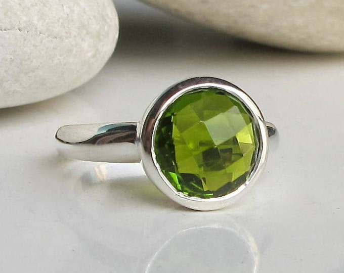 Peridot Ring Round Stack Simple Minimal