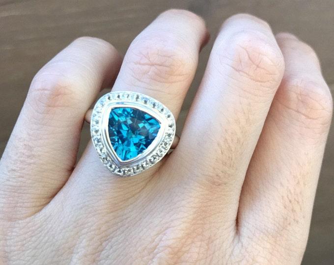 London Blue Topaz Ring- Blue Engagement Gemstone Ring- Triangle Halo Promise Ring- Alternative Diamond Engagement Ring- Dark Blue Deco Ring
