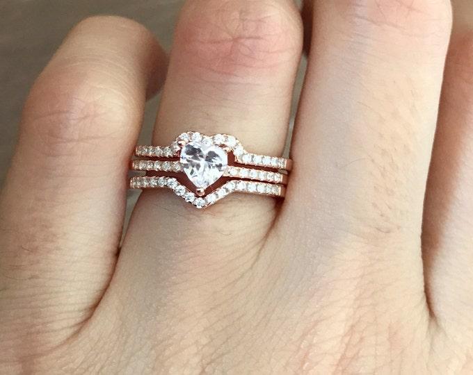 Rose Gold Bridal Set- Heart Promise Ring Set- Heart Engagement Ring Set- Bridal Wedding Ring Set- Gift for Her