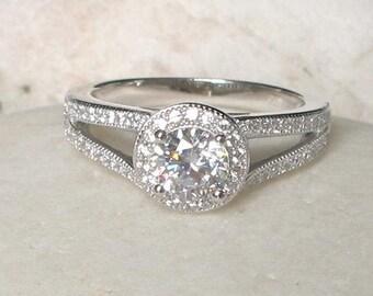 Art Deco Engagement Ring- Rose Gold Ring- Split Band Engagement Ring- Halo Alternative Engagement Ring- Simulated Diamond Ring