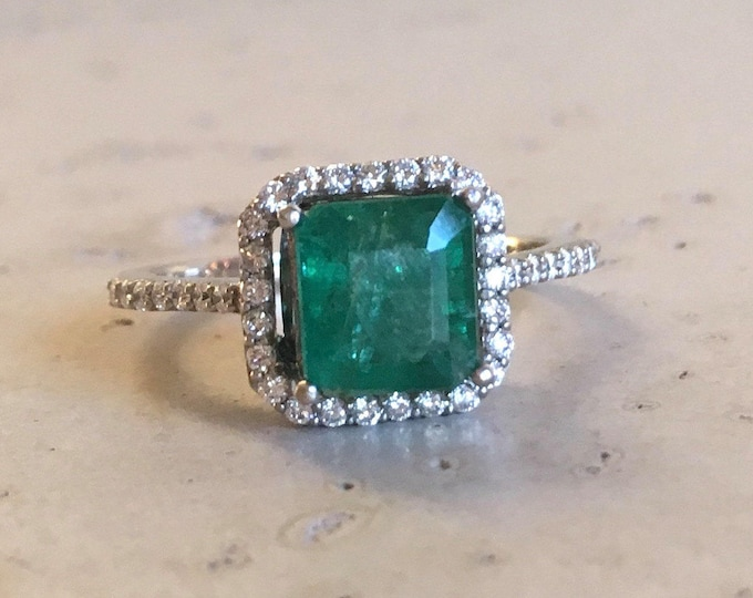 Green Emerald Engagement Ring- Rose Gold Emerald Engagement Ring- Cushion Square Classic Ring- Solitaire Gemstone Engagement Ring