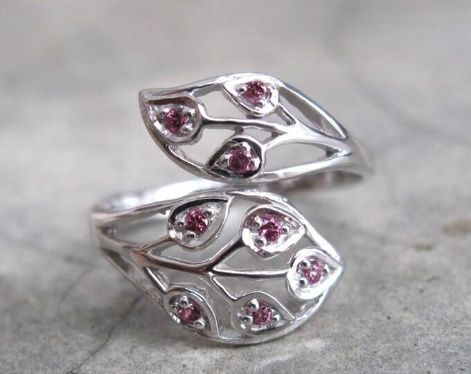 Garnet Ring in Sterling Silver Leaf Boho Double Garnet Ring