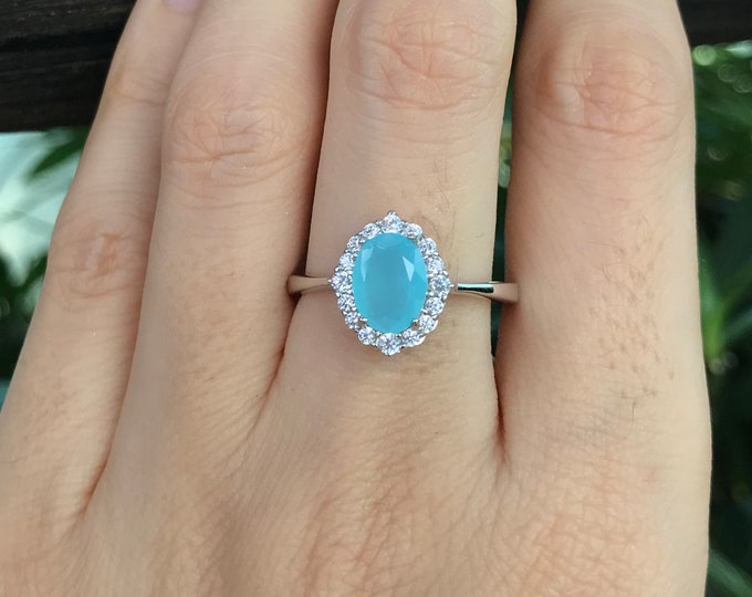 Oval Chalcedony Halo Promise Ring for Her- Solitaire Blue Gemstone Petite Ring- Blue Stone Dainty Ring- Something Blue Anniversary Ring