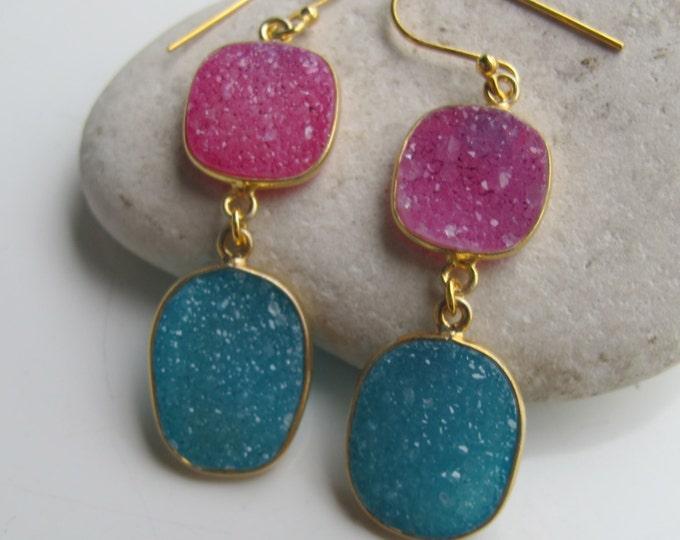 Pink Blue Earrings- Gemstone Earrings- Druzy Earrings- Blue Earring- Stone Earring- Statement Earring- Pink Earring- Blue Stone Earring