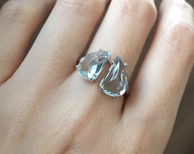 Boho Aquarmarine Statement Ring- Aqumarine Solitaire Adjustable Ring- March Birthstone Ring- Blue Gemstone Ring- Double Stone Ring