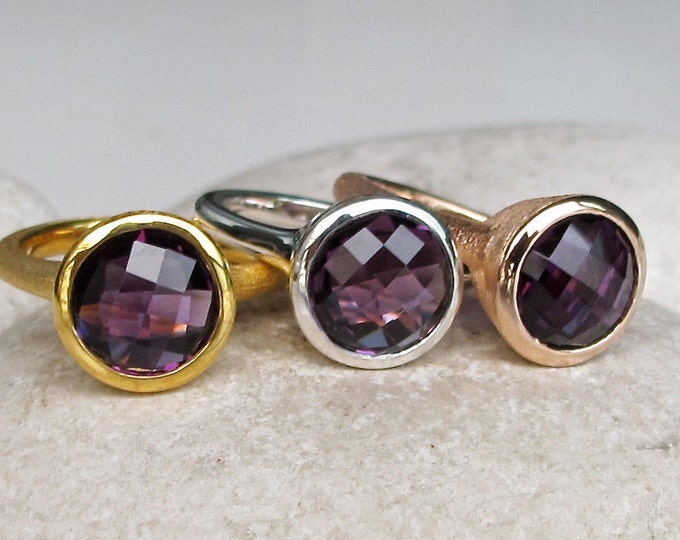 Gold Amethyst Ring Rose Gold Sterling Silver Round Solitaire February Ring Genuine Natural Faceted Simple Purple Gemstone All Sizes 9 10