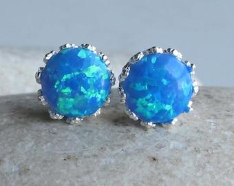 Rainbow Blue Stud Earring- Bohemian Blue Earring- October Birthstone Earring- Jewelry Gifts for Her- Mermaid Gypsy Festive Earring