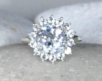 White Topaz Round 4ct Engagement Ring- Halo Colorless Large Engagement Ring- Alternative Diamond Engagement Ring- Non Diamond Ring