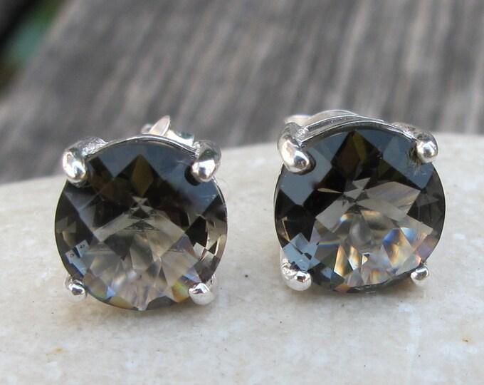 Dark Blue Mystic Stud- Round Bohemain Earring- Minimalist Simple Stud Earring- Midnight Black Blue Earring- Gypsy Boho Gothic Earring