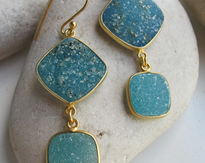 Blue Druzy Dangle Earring Gold - Boho Statement Earring- Raw Rough Drop Earring Genuine Natural Druzy Two Stone Handmade Earring Double Drop