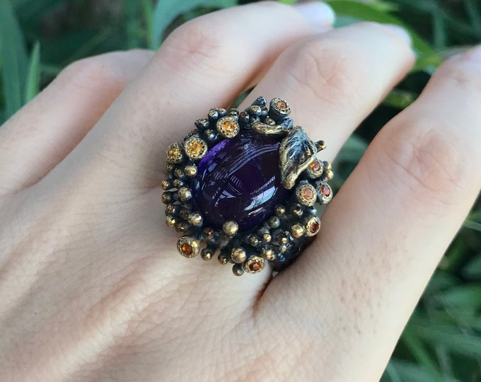 Large Oval Amethyst Statement Nature Inspired Ring- Unique Organic Textured Solitaire Band- Bulky Purple Gemstone Avant Garde Nature Ring