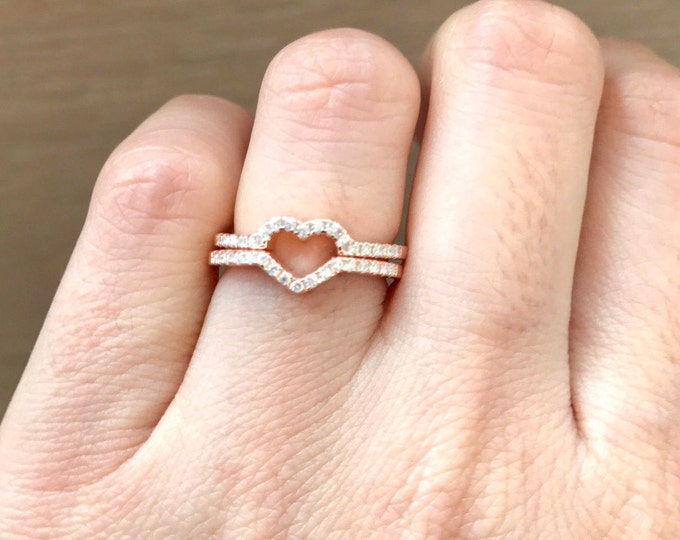 Rose Gold Heart Stack Ring for Her- Valentine Gift for Wife Girlfriend BFF- Heart Shaped Promise Band- Heart 2 Ring Set- Gifts under 35