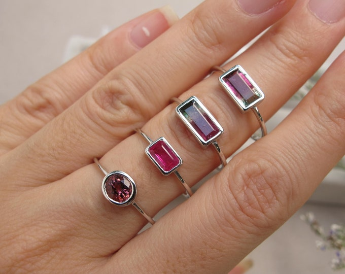WaterMelon Tourmaline Rectangle White Gold Ring- Rubellite Tourmaline Round Bezel Ring-Genuine Pink Tourmaline Ring- October Birthstone Ring