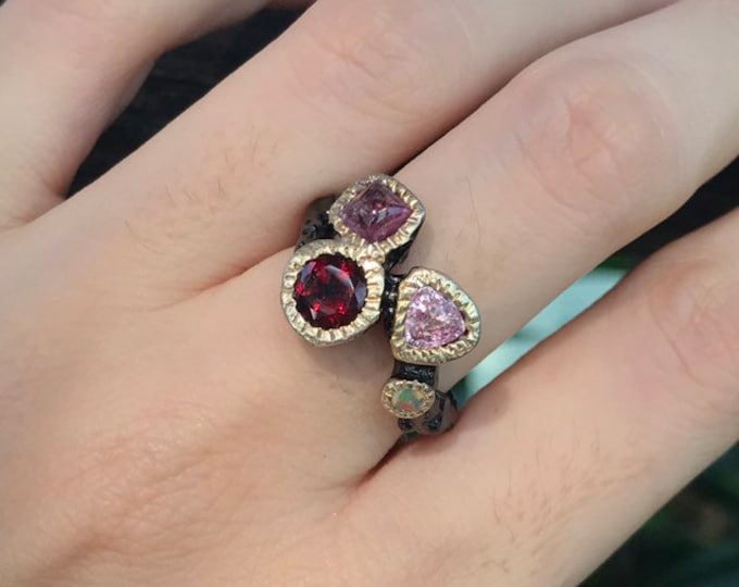 Pink Tourmaline Garnet Opal Cluster Gemstone Statement Ring- Multistone Solitaire Unique Cluster Stone Ring- Handmade OOAK Ring